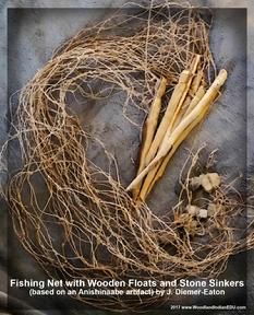 twined faux bark fiber net fishnet stone sinkers tumpline Ojibwe Anishinaabe artifacts