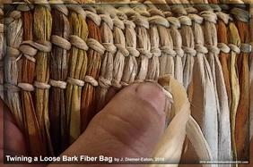twined twining nettle bark fibers fiber textiles by Jessica Diemer-Eaton Native American Eastern Woodlands Indian prehistoric precontact examples of reproduction Native style clothing bags textiles garments weft warp